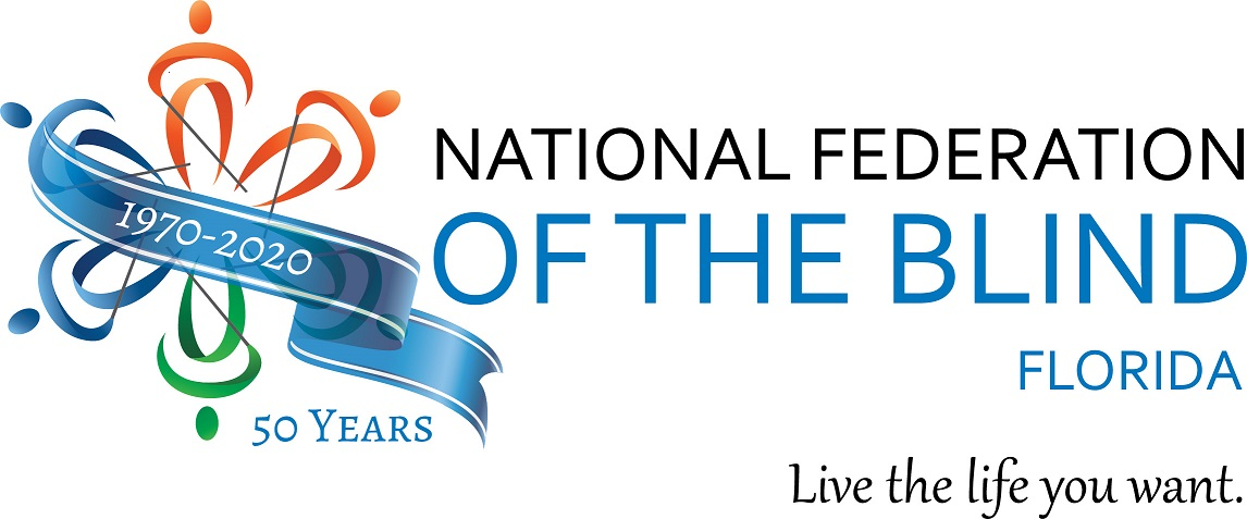 "Logo of the National Federation of the Blind of Florida 50th Anniversary with the tagline ""Live the life you want""."