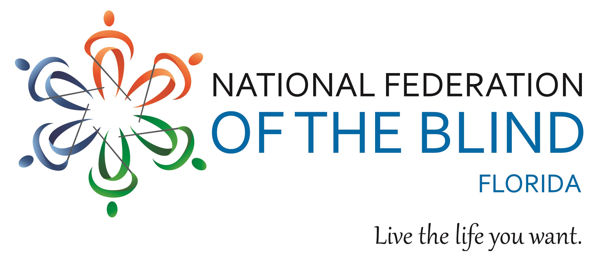"Logo of the National Federation of the Blind of Florida with the tagline ""Live the life you want""."